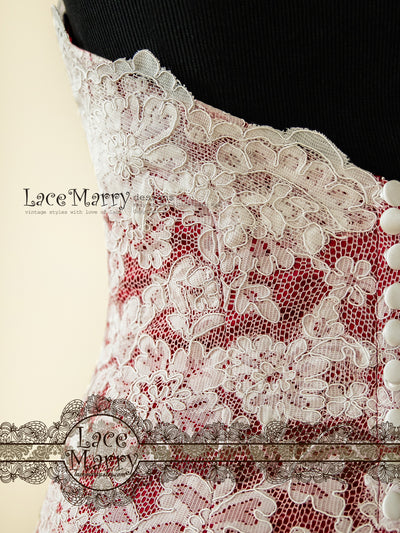 Red Underlay Lace Wedding Dress
