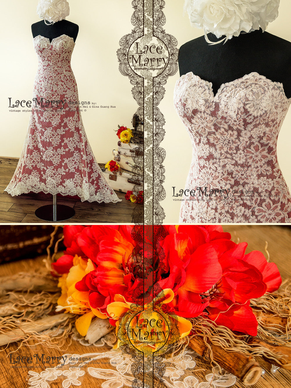Colorful Lace Wedding Dress with High Low Skirt