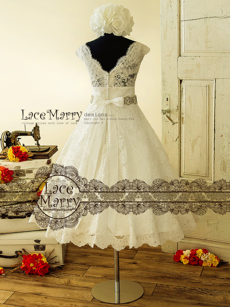 Tea Length Lace Wedding Dress