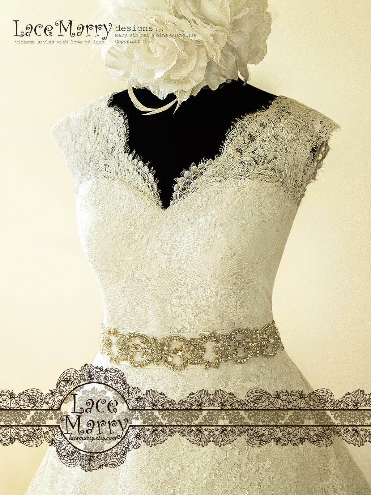 Wedding Dress with V Neckline with Cap Sleeves