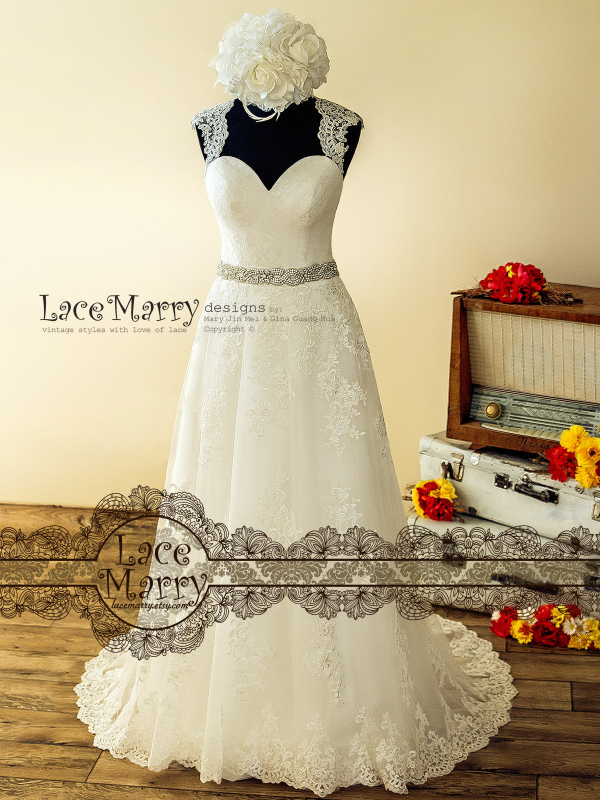 Delicate Lace A Line Wedding Dress