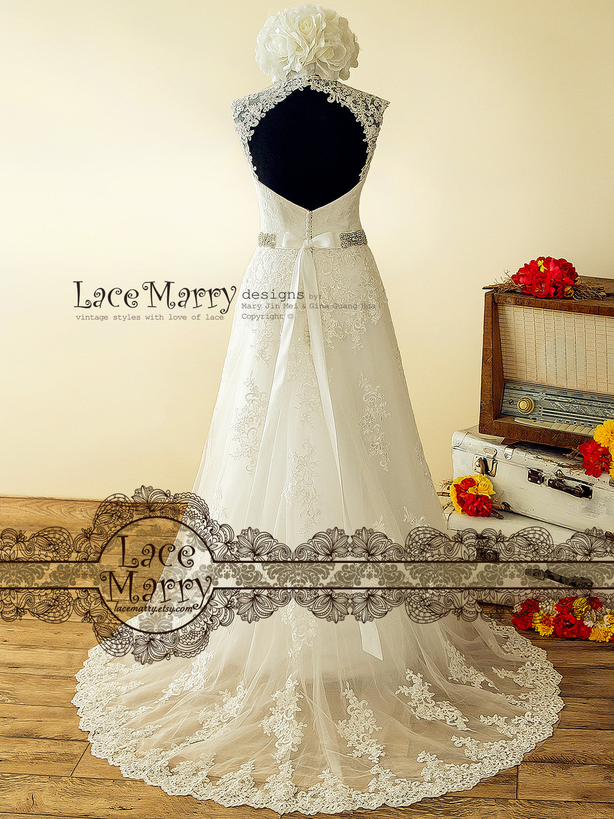 Lace Wedding Dress with Keyhole Open Back
