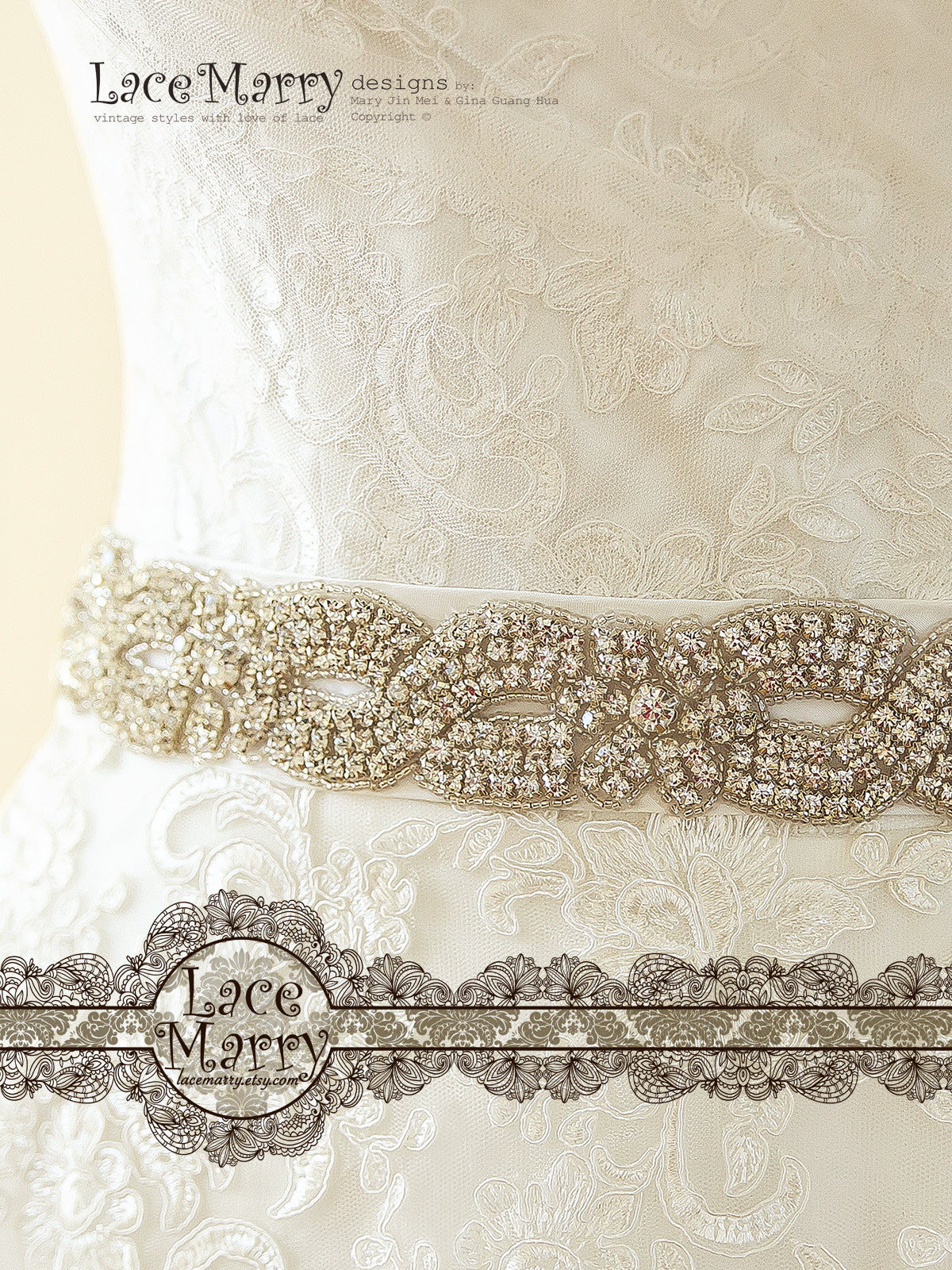 Wedding Dress with Beaded Sash