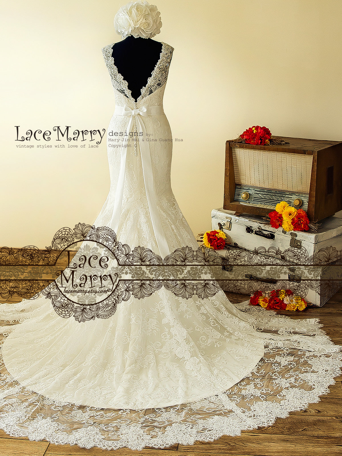 V Cut Back Wedding Dress with Cathedral Train