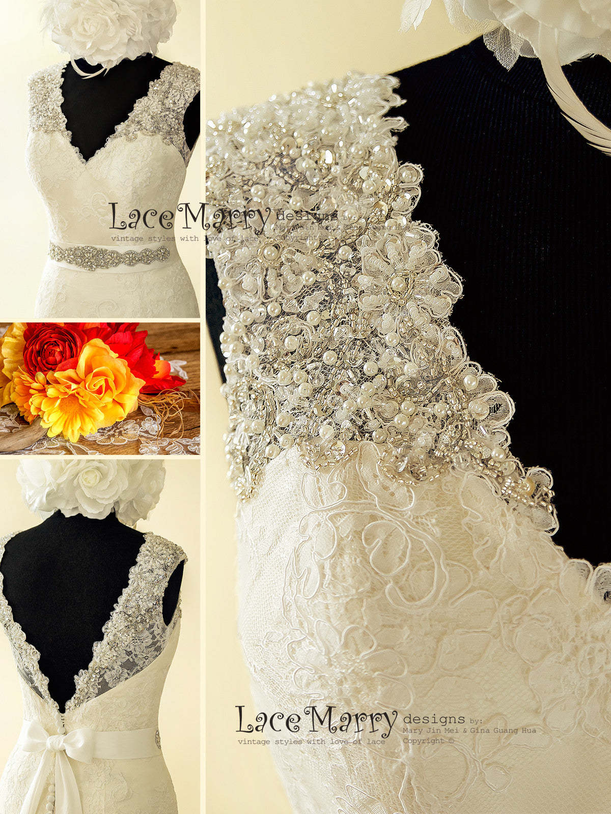 Beaded V Neck Wedding Dress