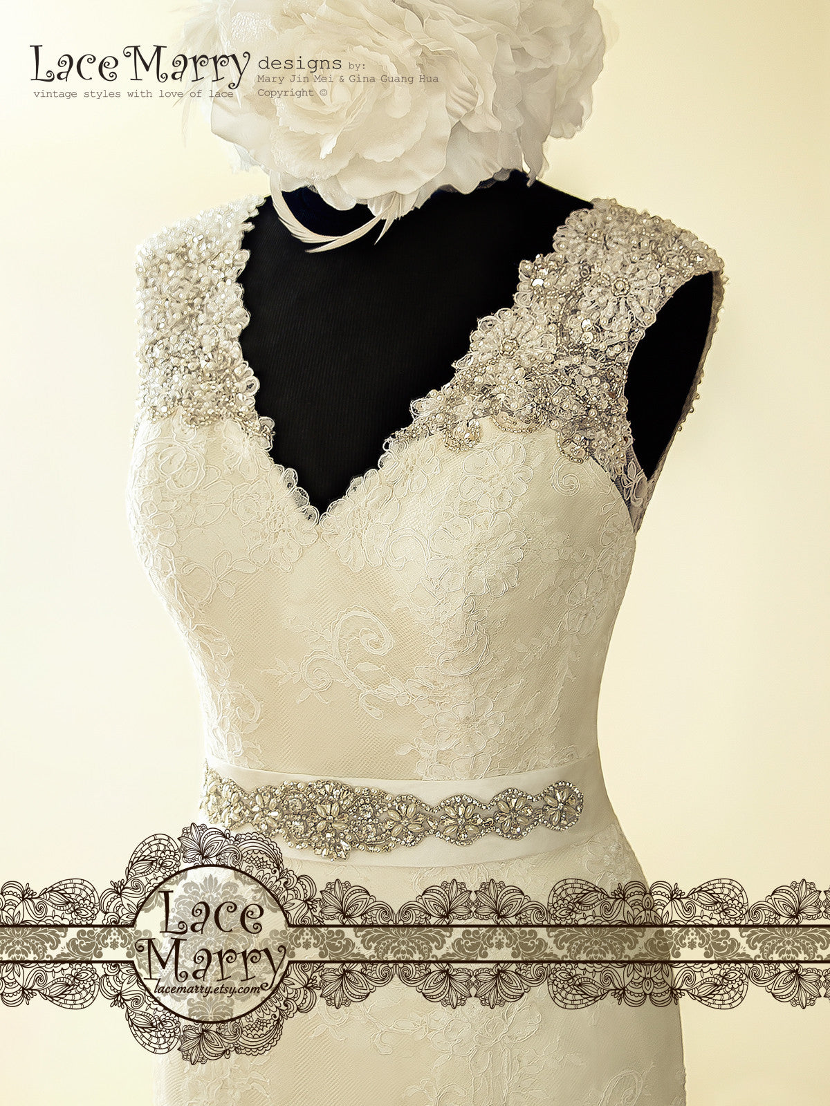 Wedding Dress with Beaded V Neckline