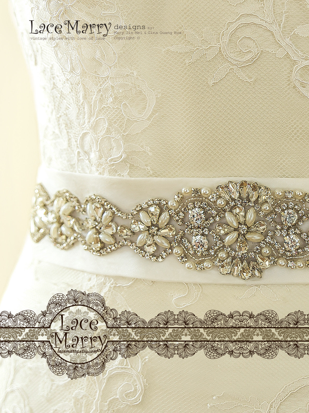 Beaded Belt with Rhinestones