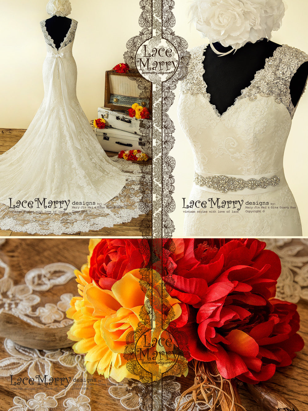 French Lace Wedding Dress with Beaded Neckline