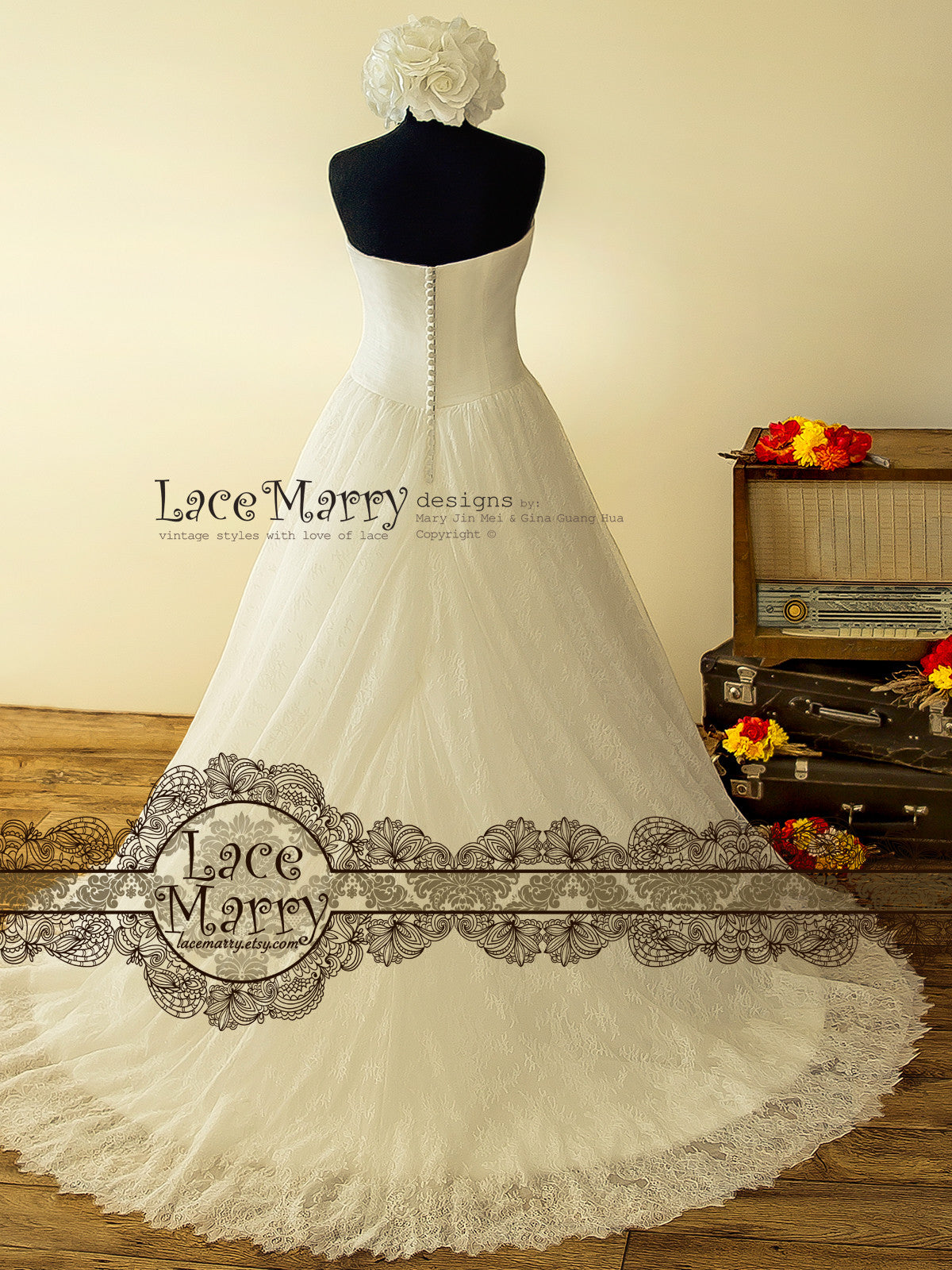 Strapless Lace Wedding Dress with Small Train