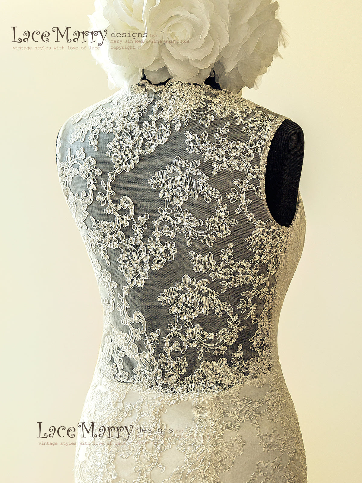 Lace Sheer Back Wedding Dress with Brooch