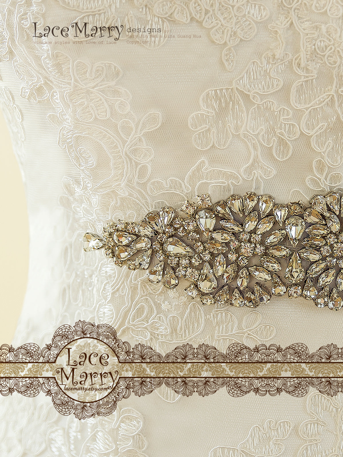 Detailed Beaded Brooch on Lace Wedding Dress