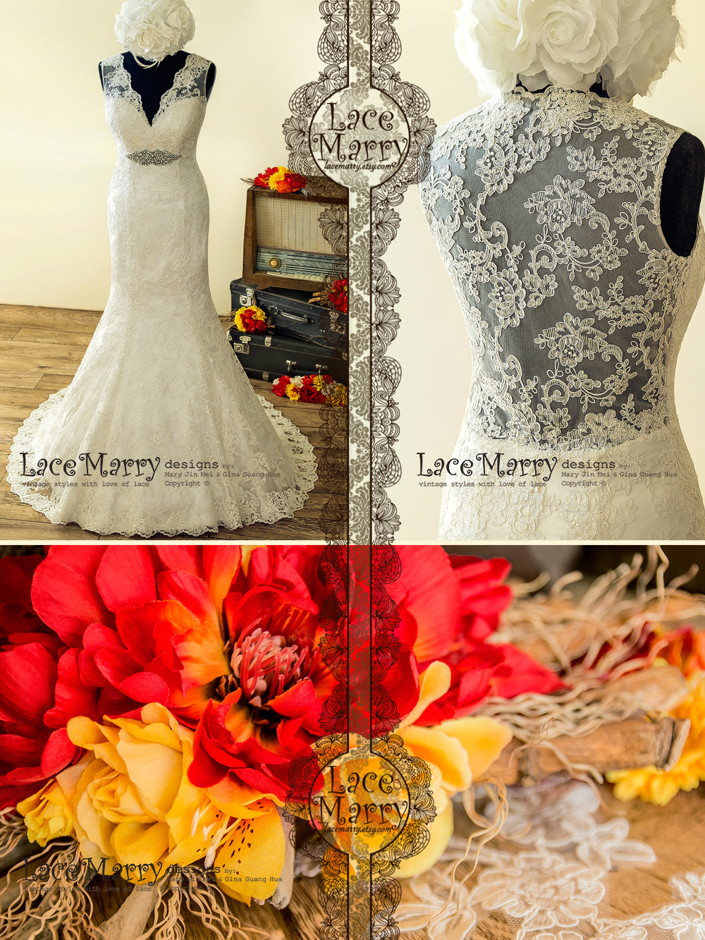 Trumpet shape Lace Wedding Dress with Train and Beaded Brooch