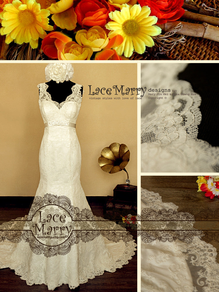 Trumpet Style Lace Wedding Dress with Lace Straps