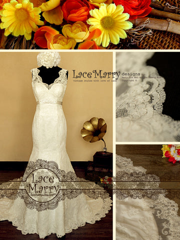 Stunning Lace Wedding Dress in Trumpet Style and Lace Straps