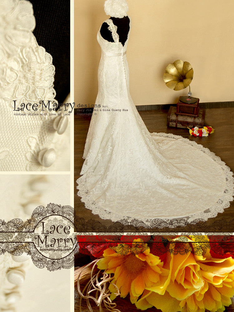 Elegant Lace Wedding Dress with Buttons on the Back