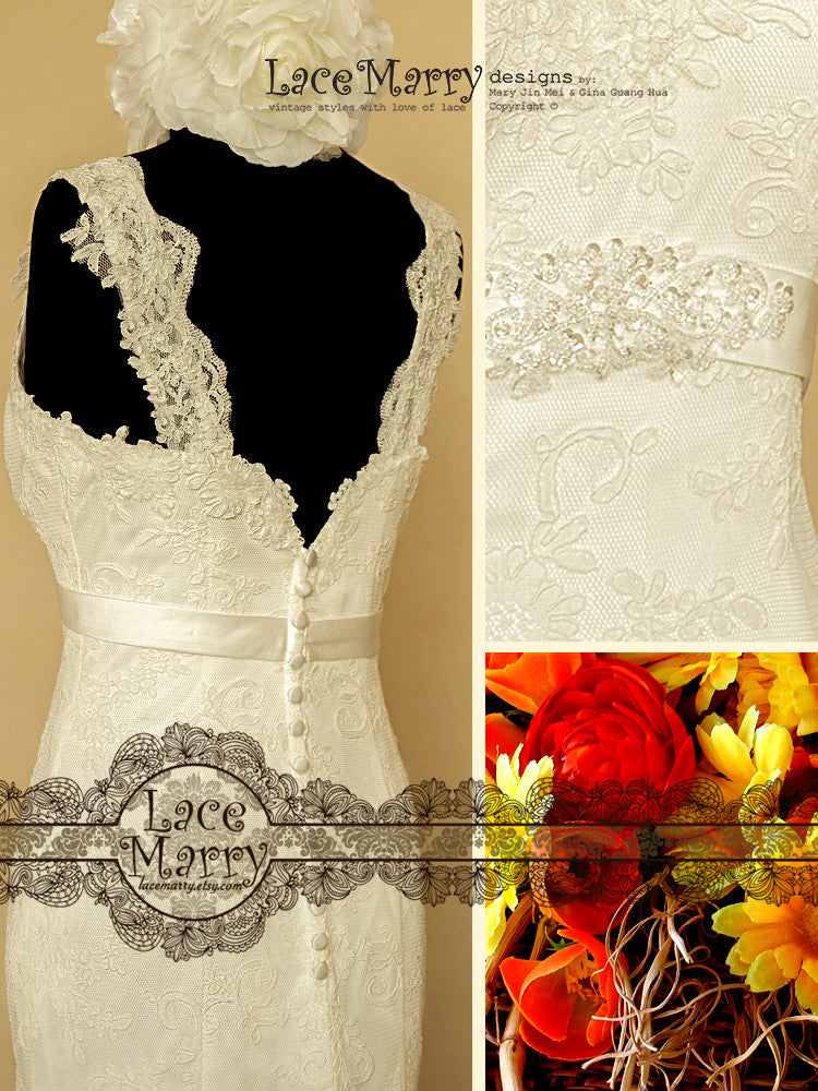 All Over Lace Wedding Dress with Beaded Brooch on the Front
