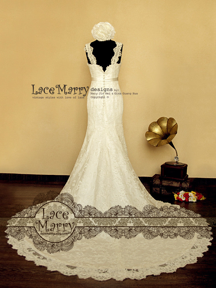 Cathedral Length Train Lace Wedding Dress with Lace Straps