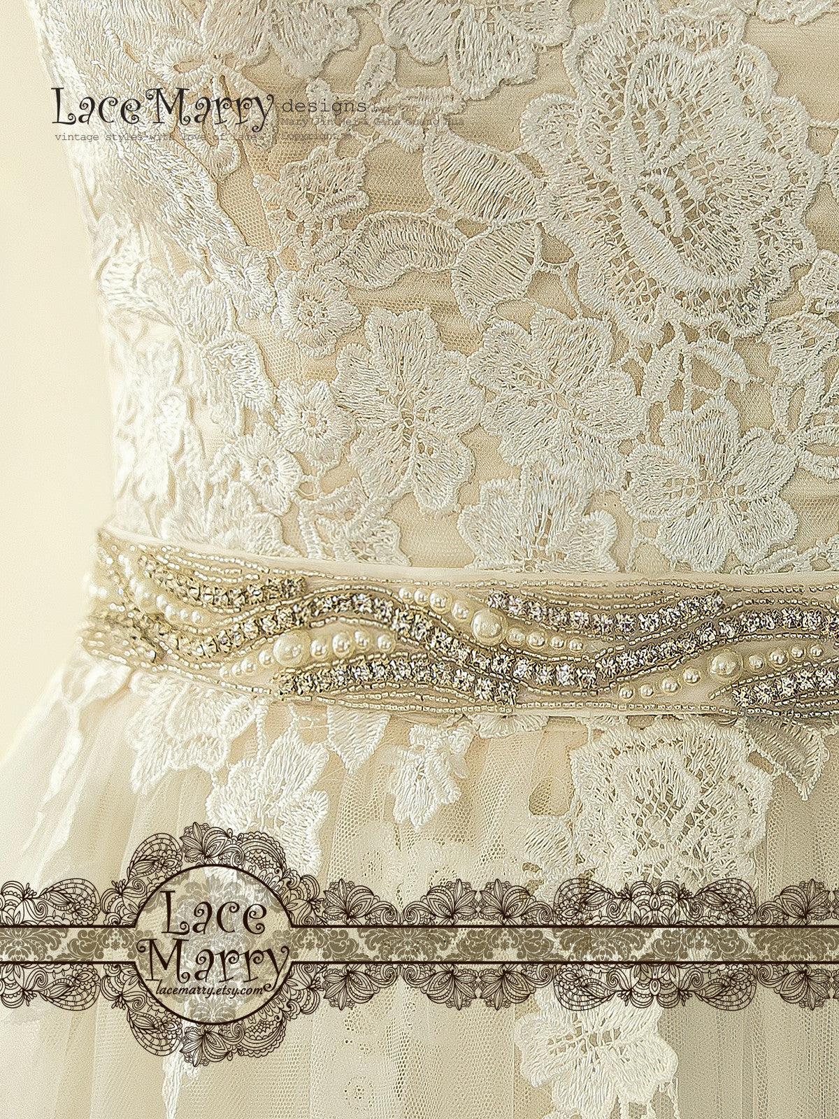 Wedding Dress with Beaded Embellishment Sash