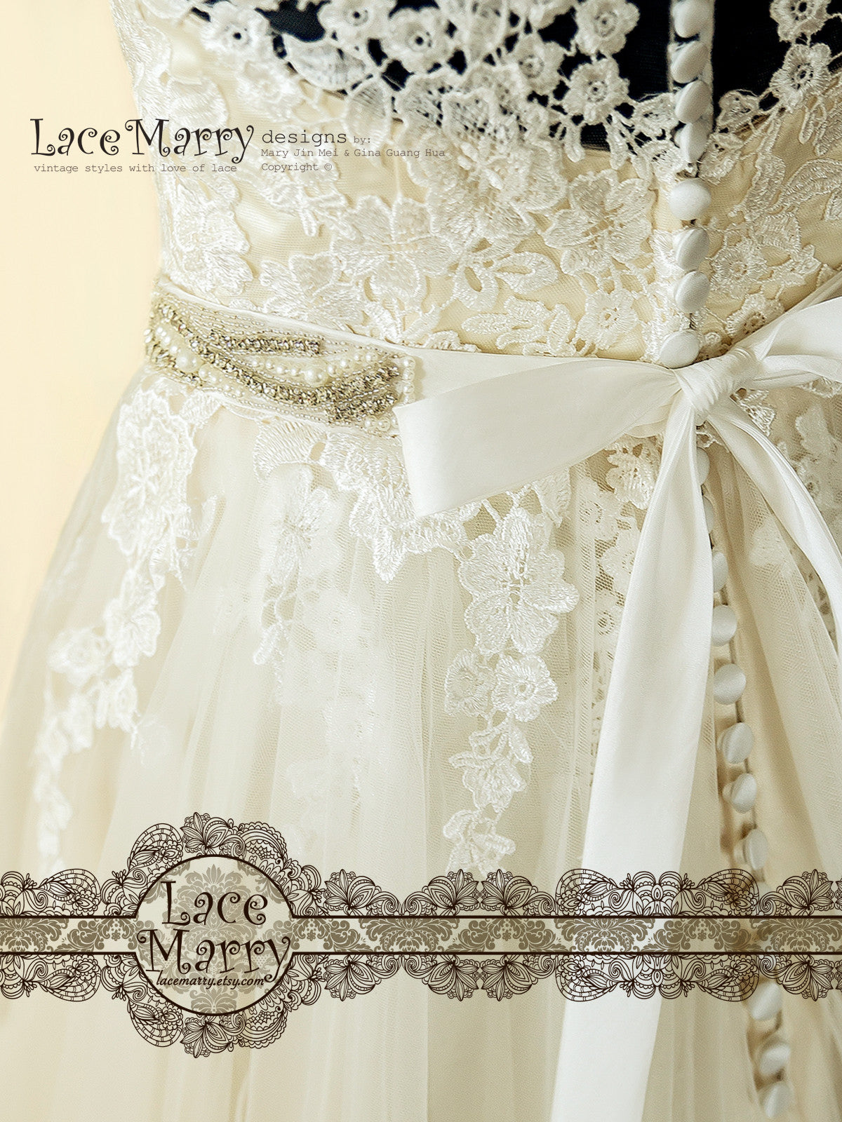 Beaded Embellishement Long Bridal Sash