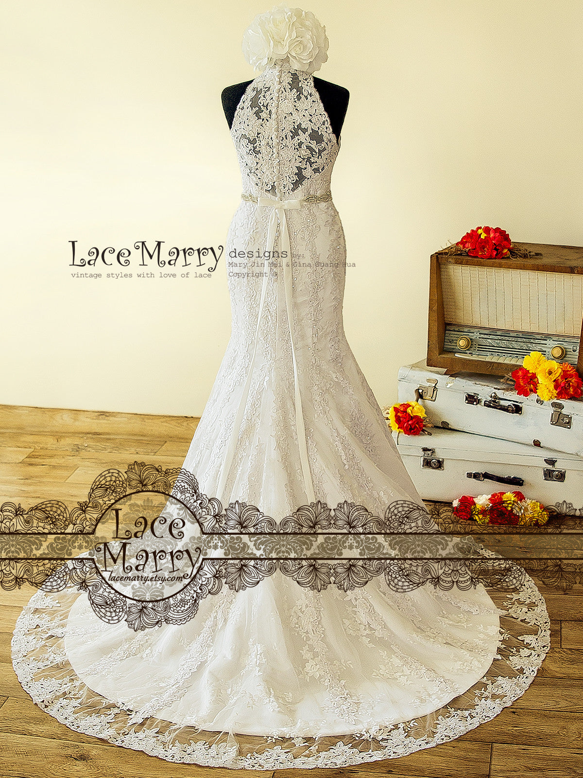 Beaded Lace Wedding Dress From Venice Flower Applique With Halter