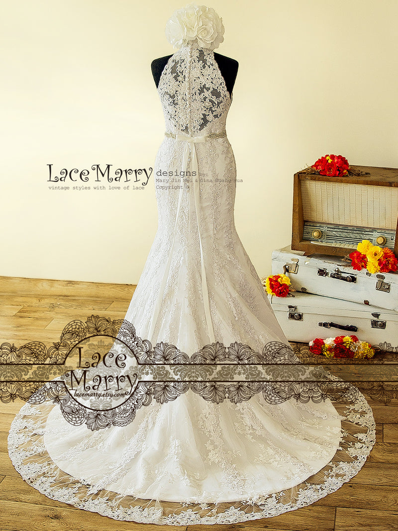 Beaded Lace Wedding Dress from Venice Flower Applique