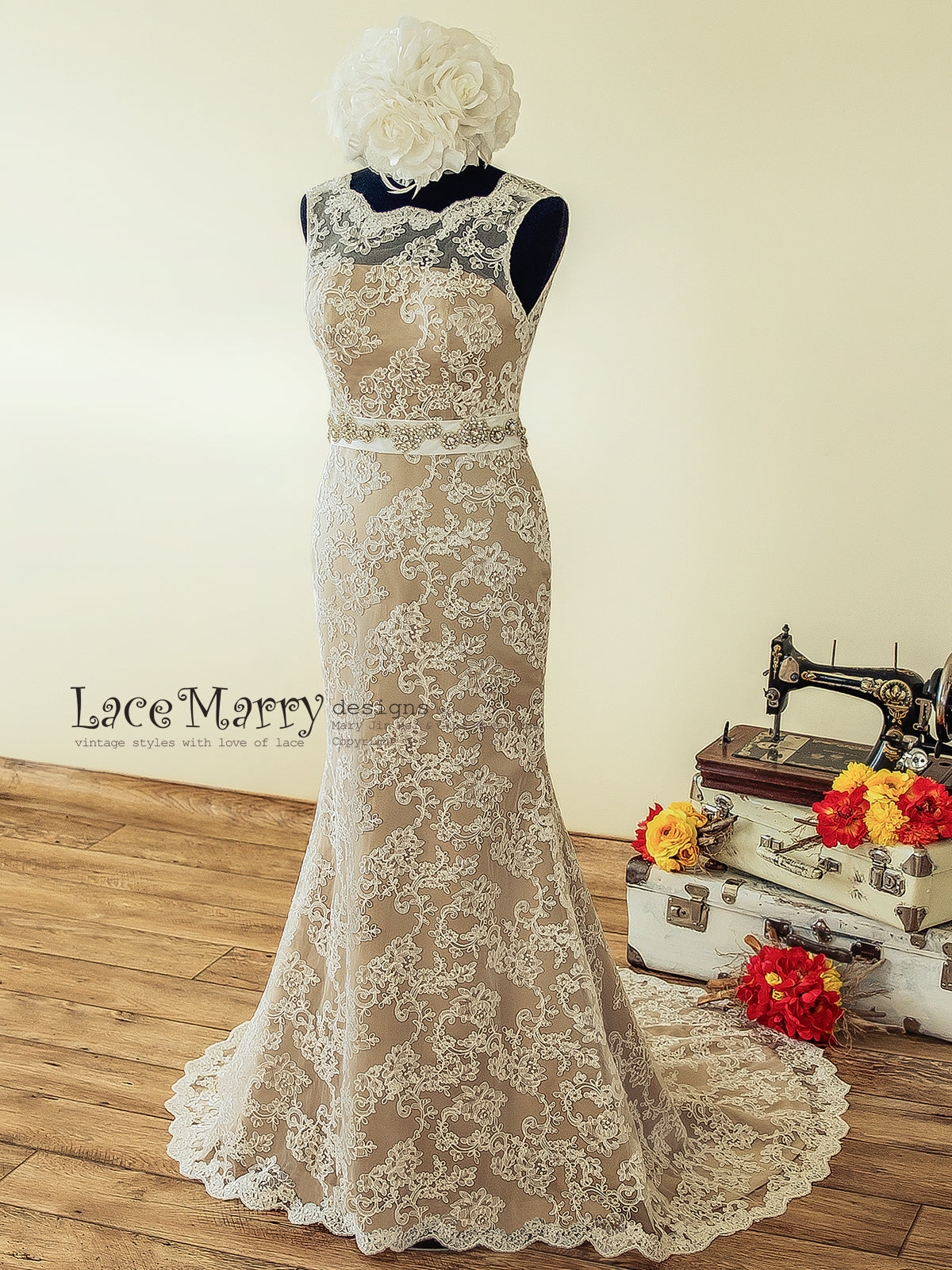 Vintage Inspired Wedding Dress with Champagne Underlay