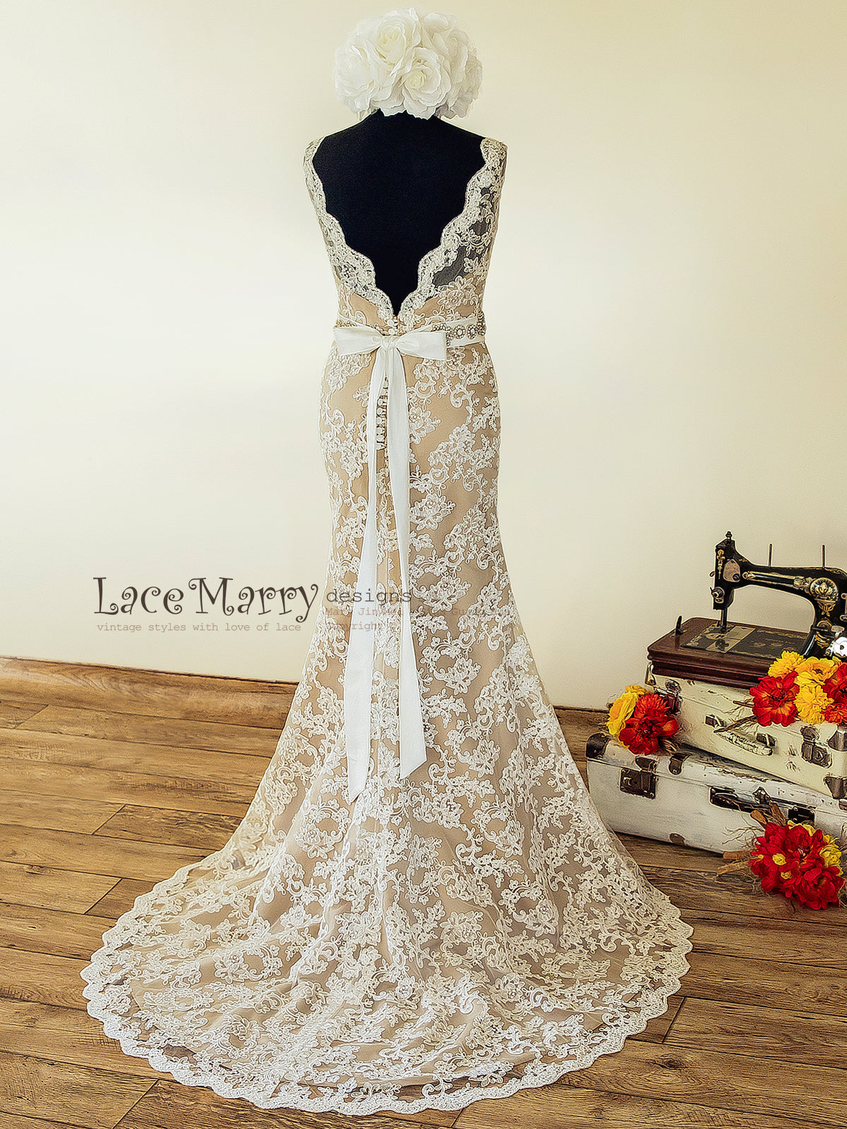 Vintage Inspired Wedding Dress from Ivory Lace and Champagne Satin with Illusion Neckline, Deep V Cut Open Back and Fitted Skirt with Train