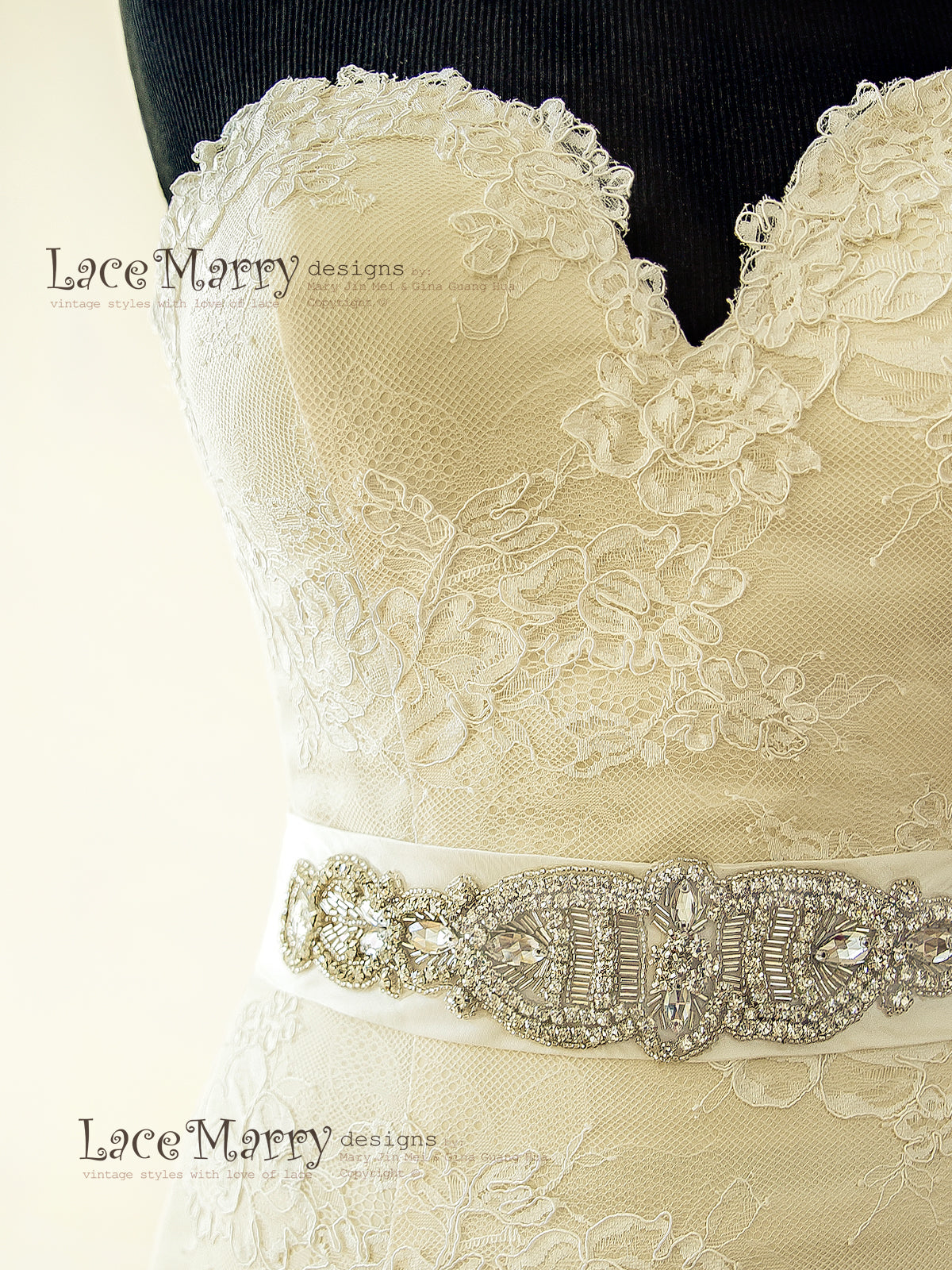 Removable Beaded Belt on Lace Wedding Dress