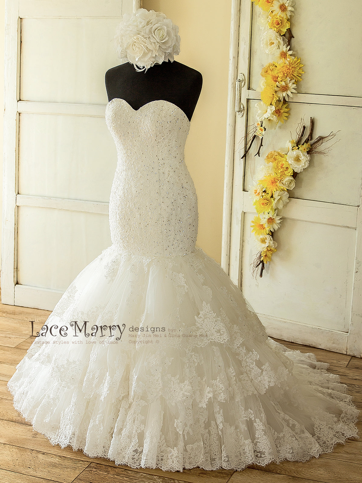 Fit and Flare Style Lace Wedding Dress with Beading