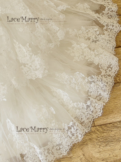 Puffy Layered Mermaid Bottom Skirt Wedding Dress
