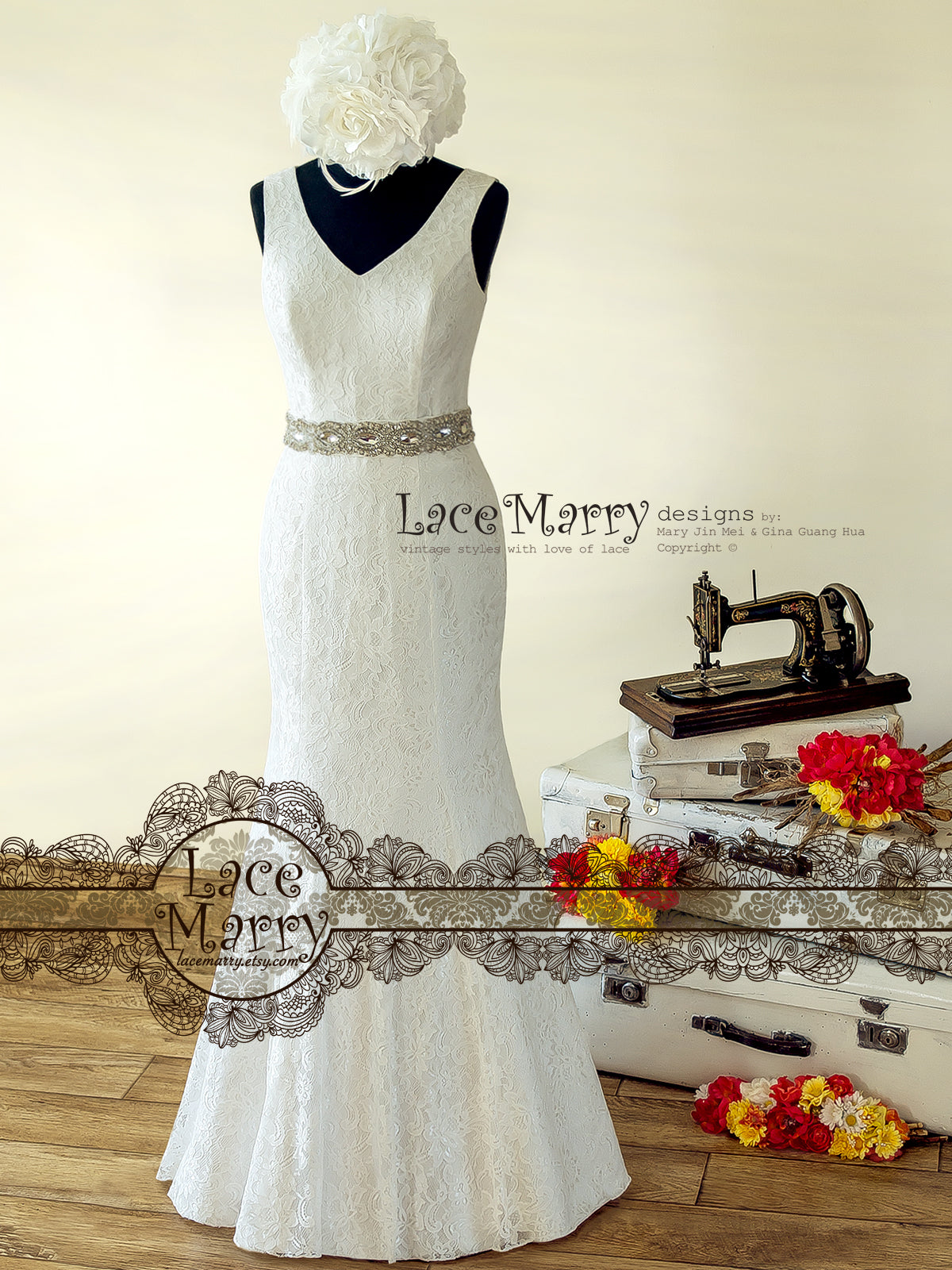 Ivory Lace Wedding Dress with Straps