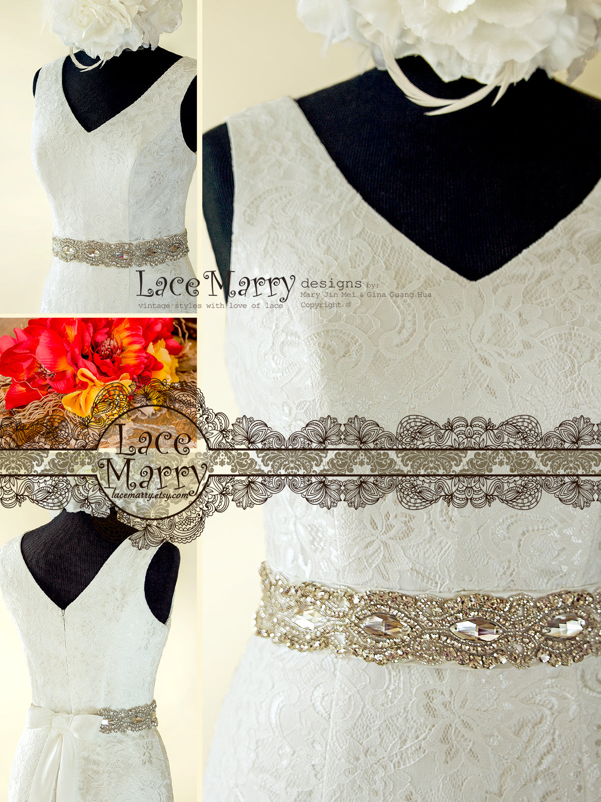 Open V Neckline Lace Wedding Dress