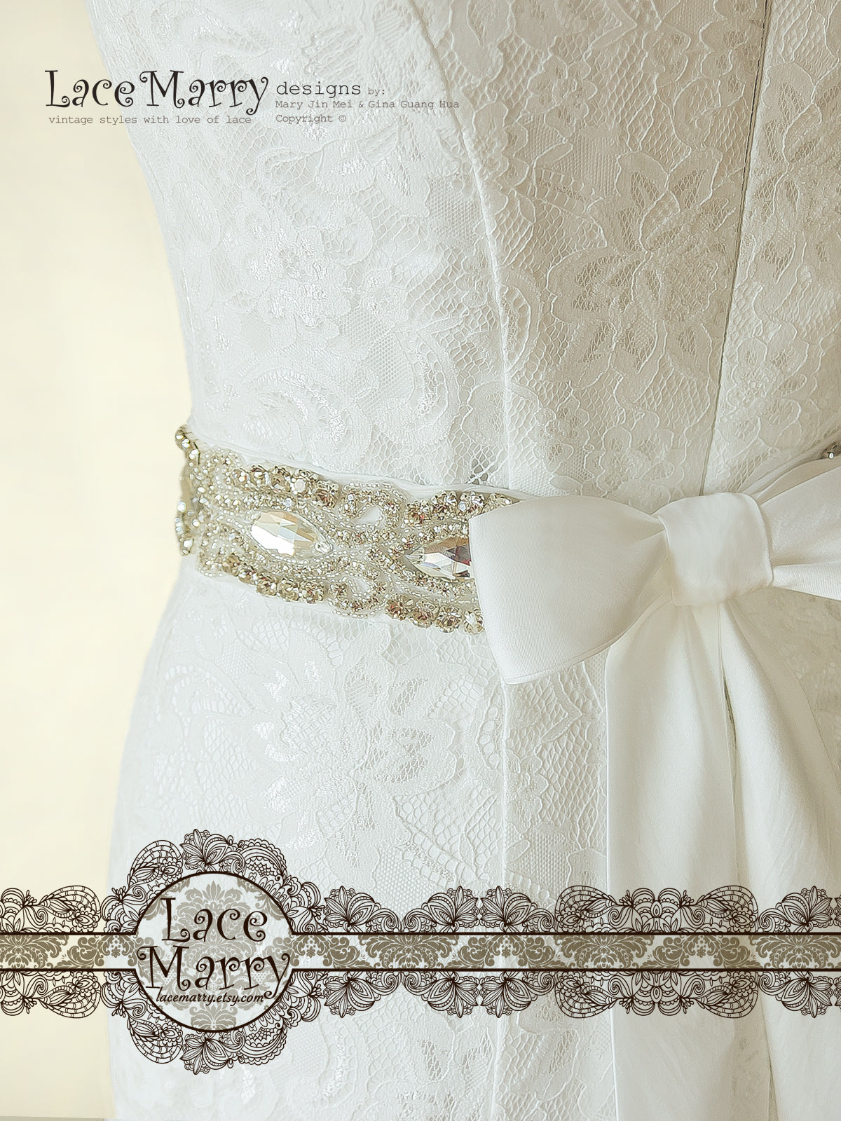 Beaded Embellishment Sash on Wedding Dress