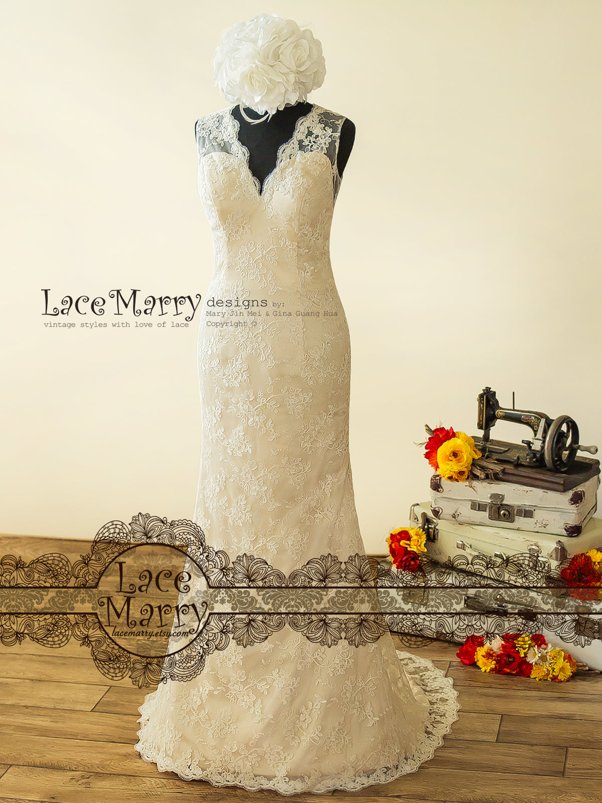 Sheath Lace Wedding Dress Featuring Sheer Lace Covered Back With