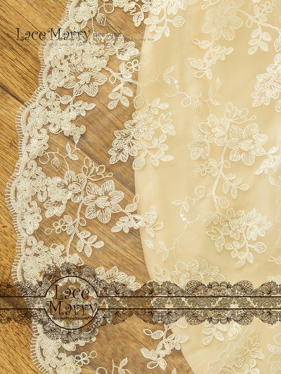 Wedding Dress Full Lace Overlay with Romantic Floral Pattern