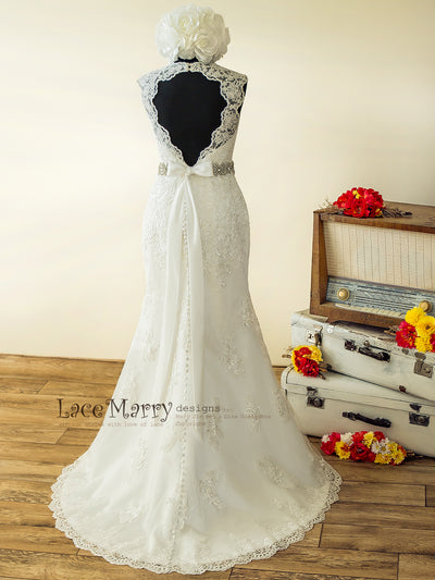 Lace Wedding Dress with Water Drop Keyhole Back