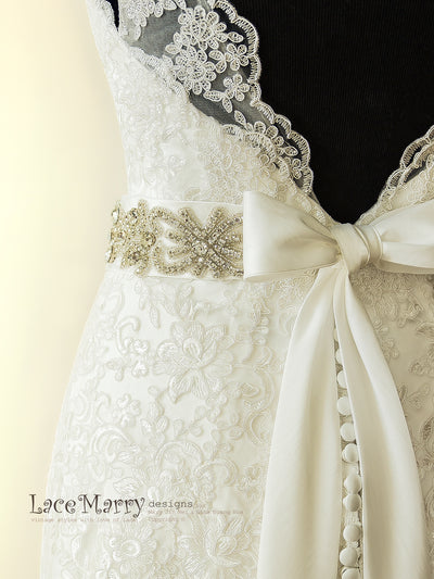 Lace Wedding Dress with Removable Sash