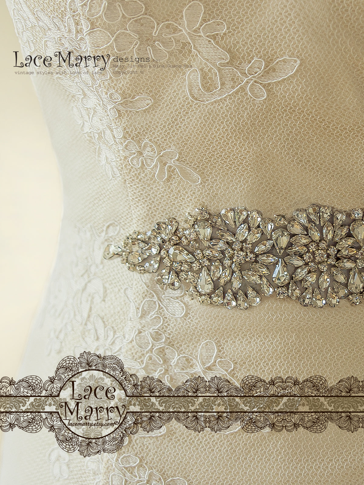 Elegant Lace Wedding Dress with Beaded Sash