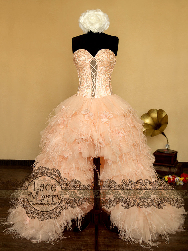 Wedding Dress with Puffy Skirt Design from Feathers