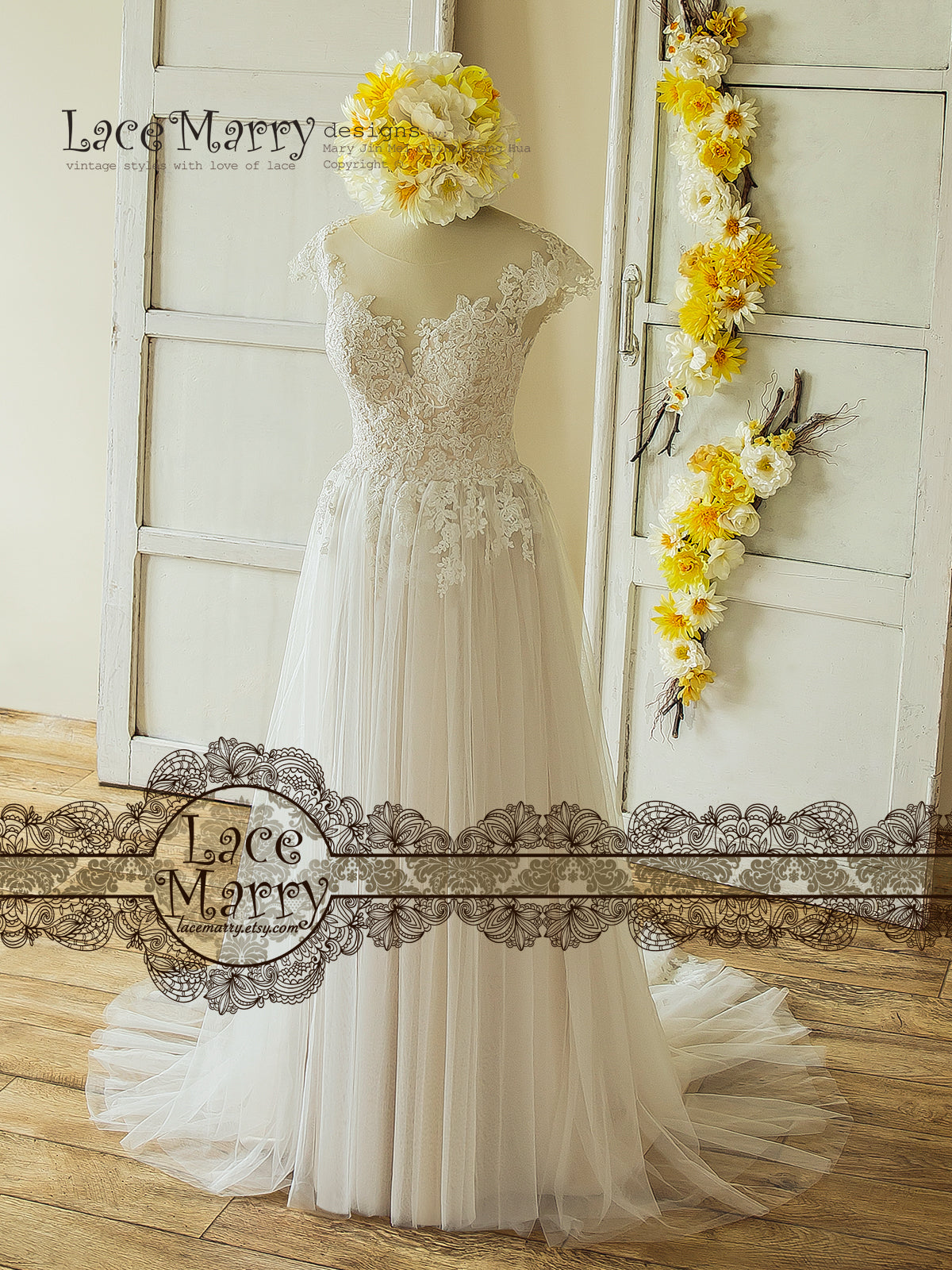 Boho A-Line Wedding Dress