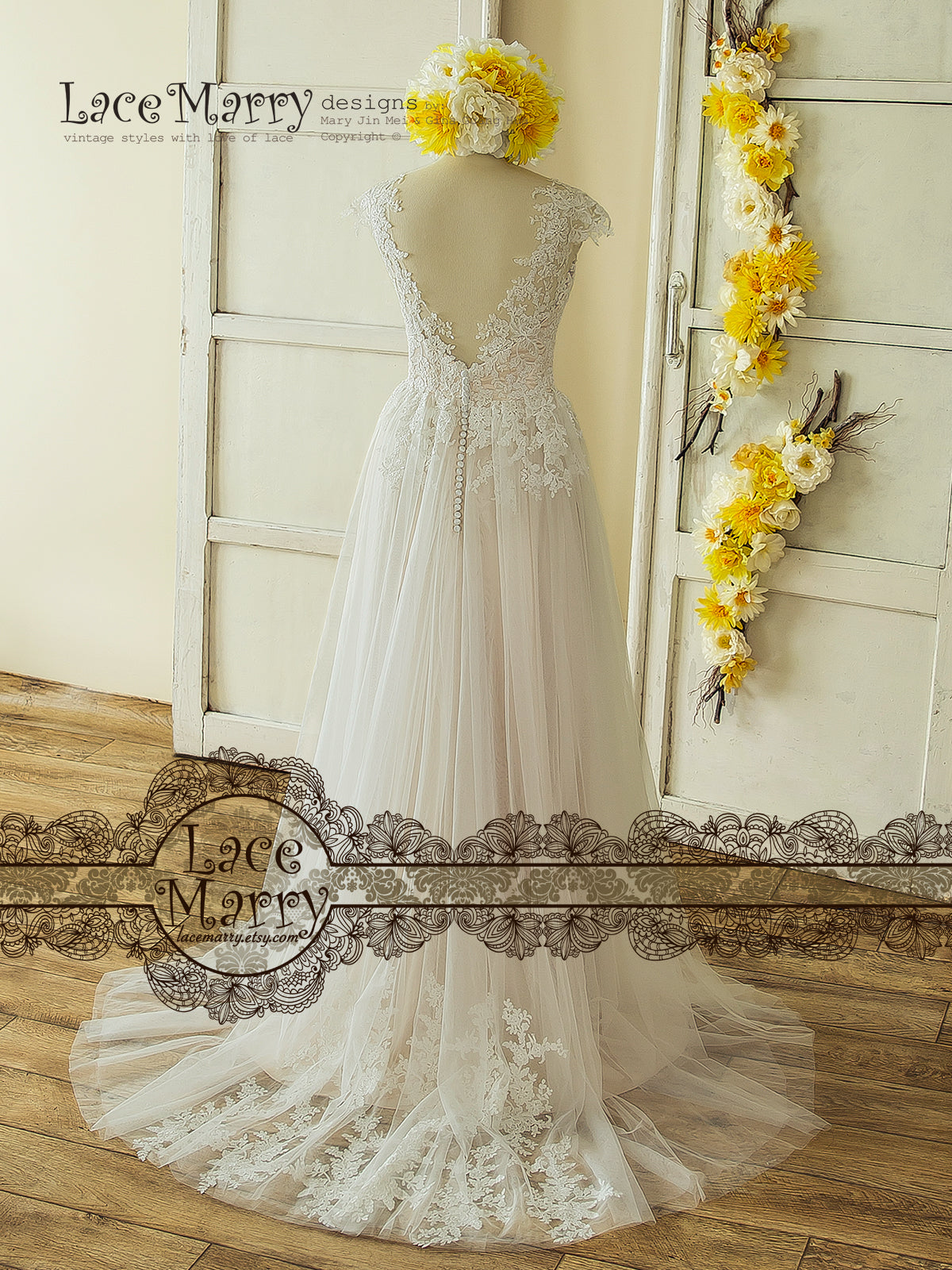 Wedding Dress with Off Shoulder Illusion Sweetheart Neckline