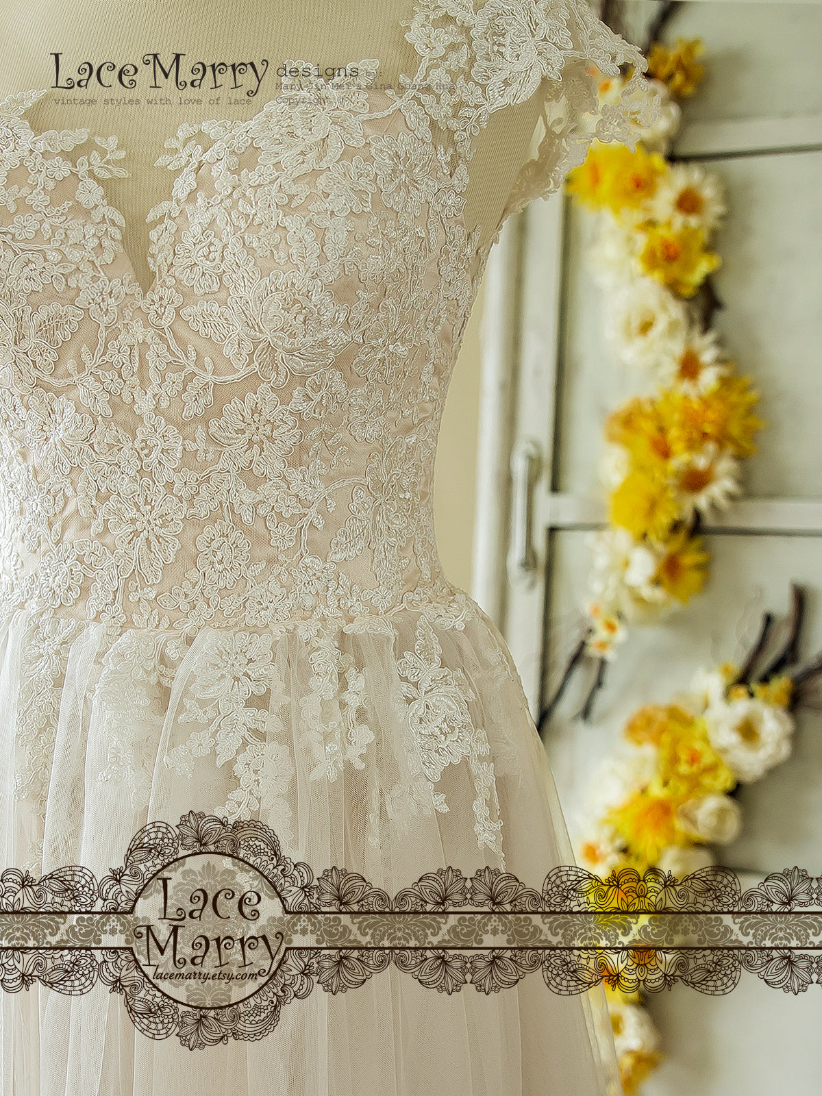 Sheer Lace Neckline Boho Wedding Dress