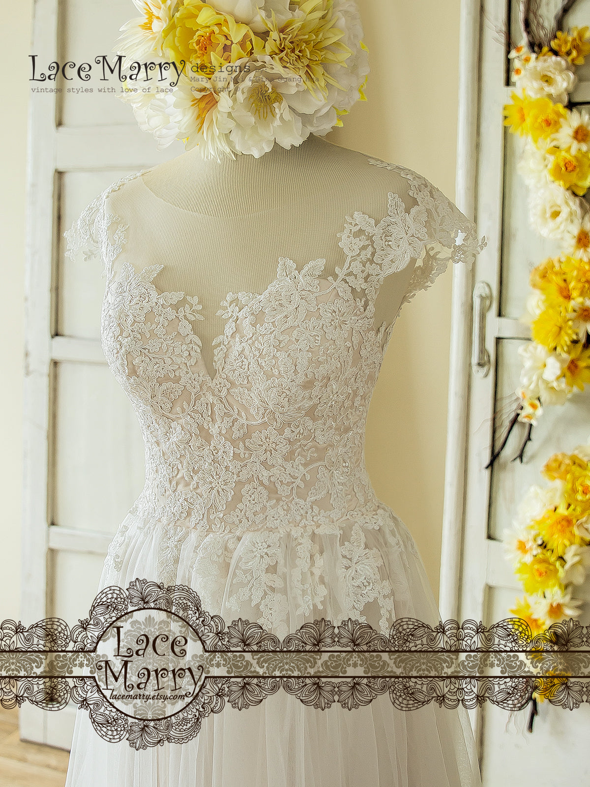 See Through Neckline Flower Apllique Wedding Dress