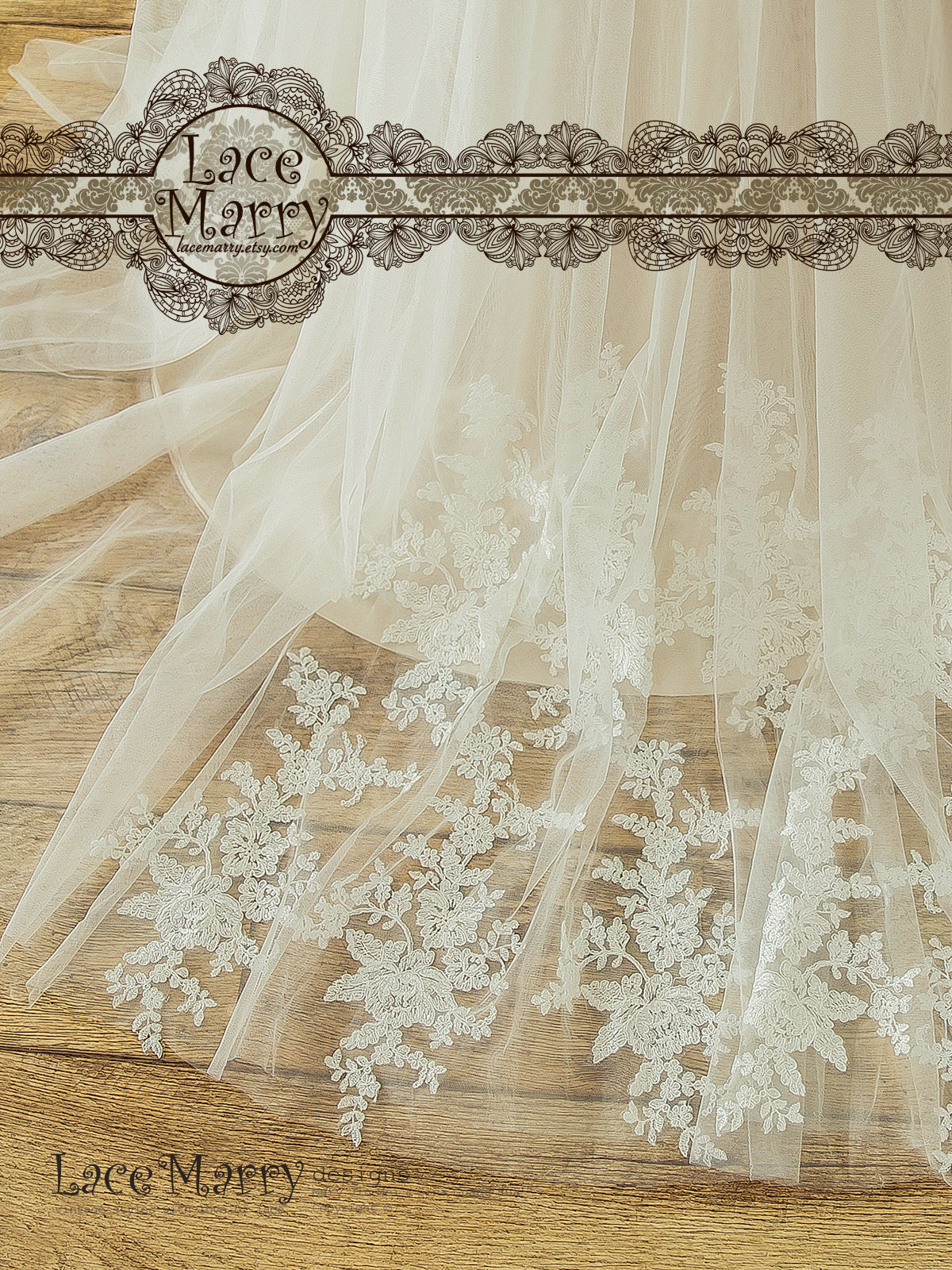 Light Champagne Underlay Lace Wedding Dress with Soft Tulle