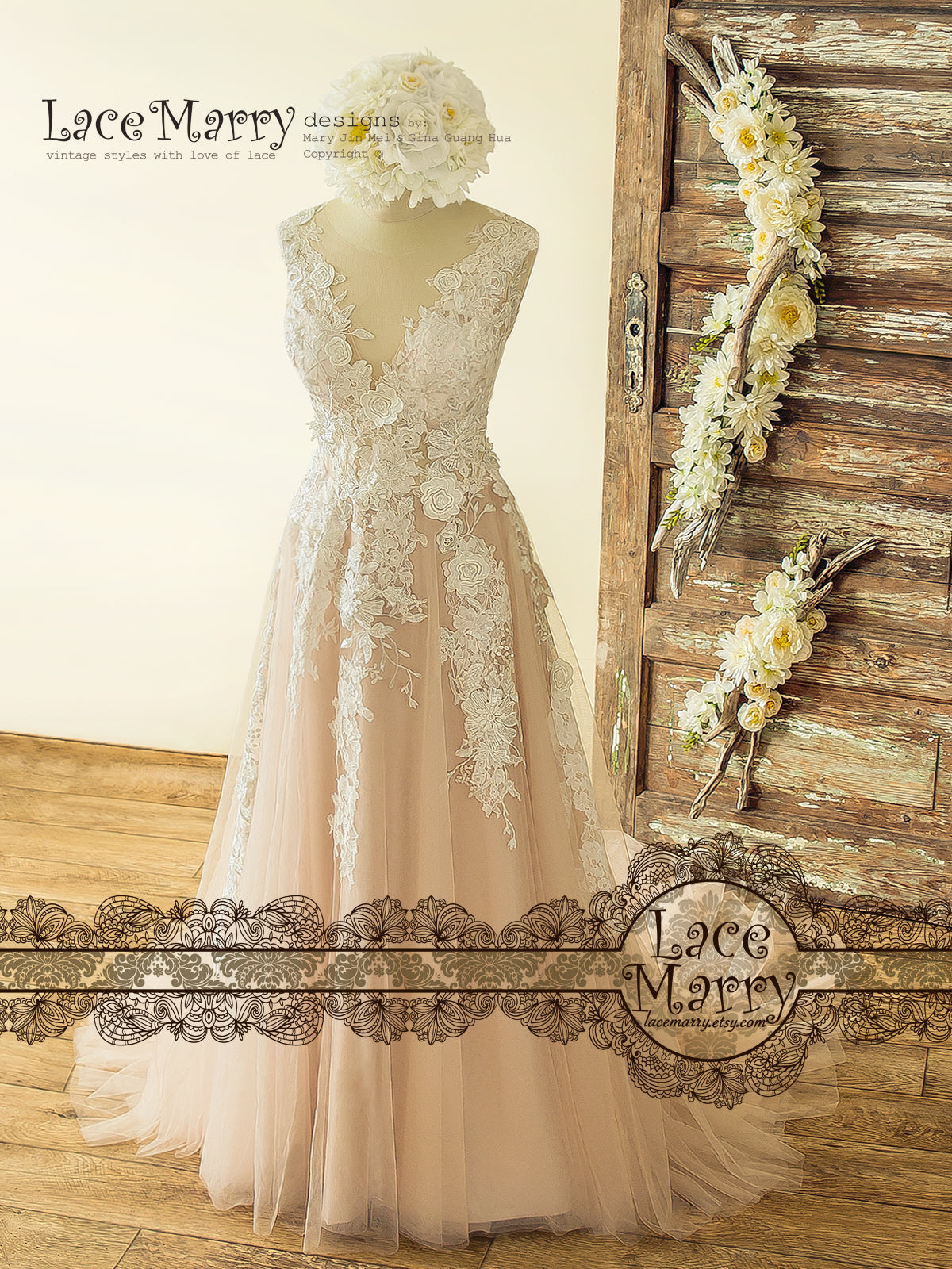 Boho Blush Wedding Dress with Ivory Lace 3D Flower Appliques