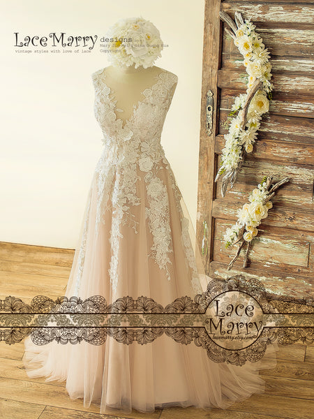 Boho Blush Wedding Dress