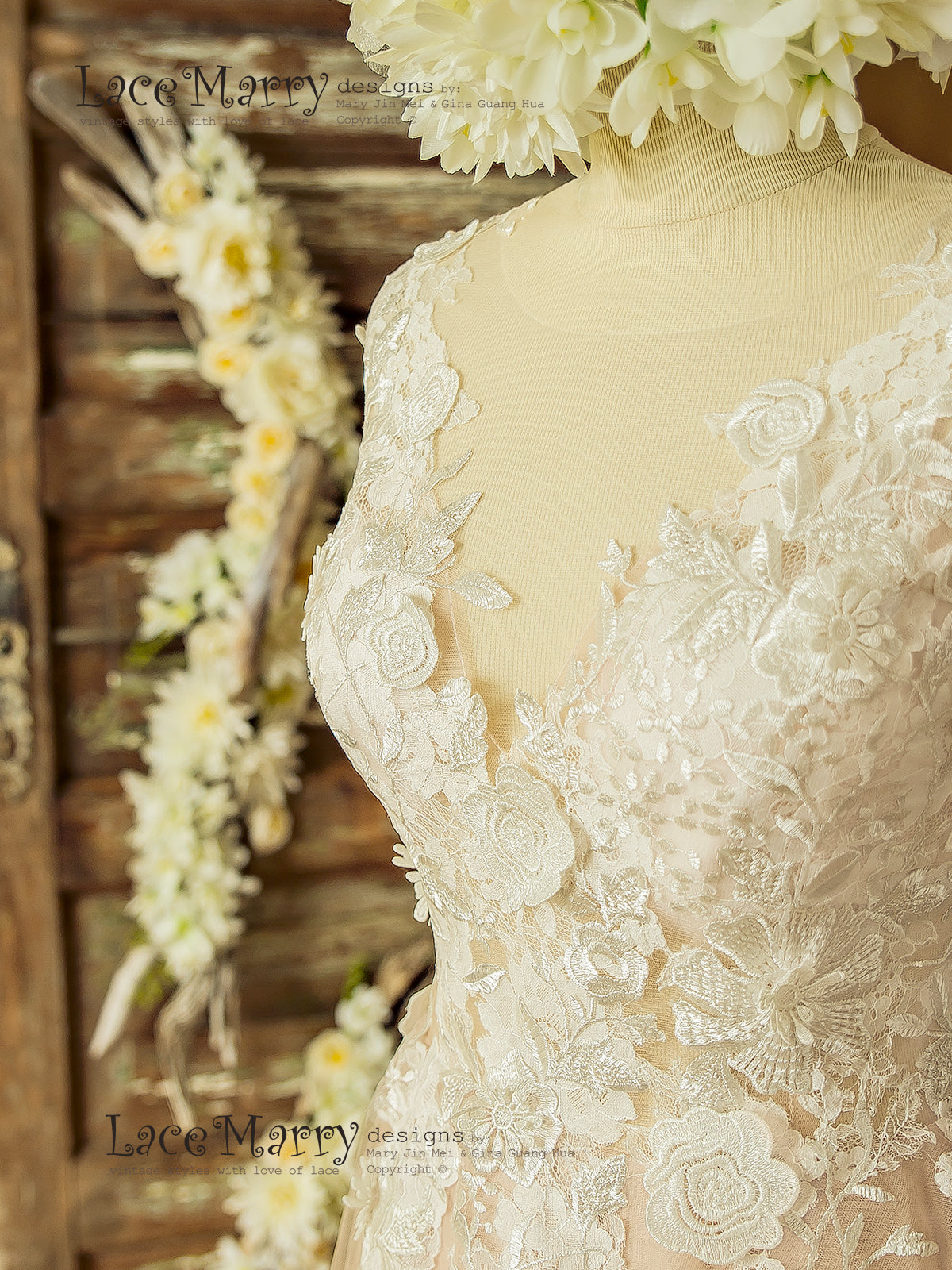 Boho Wedding Dress with Ivory 3D Flower Appliques