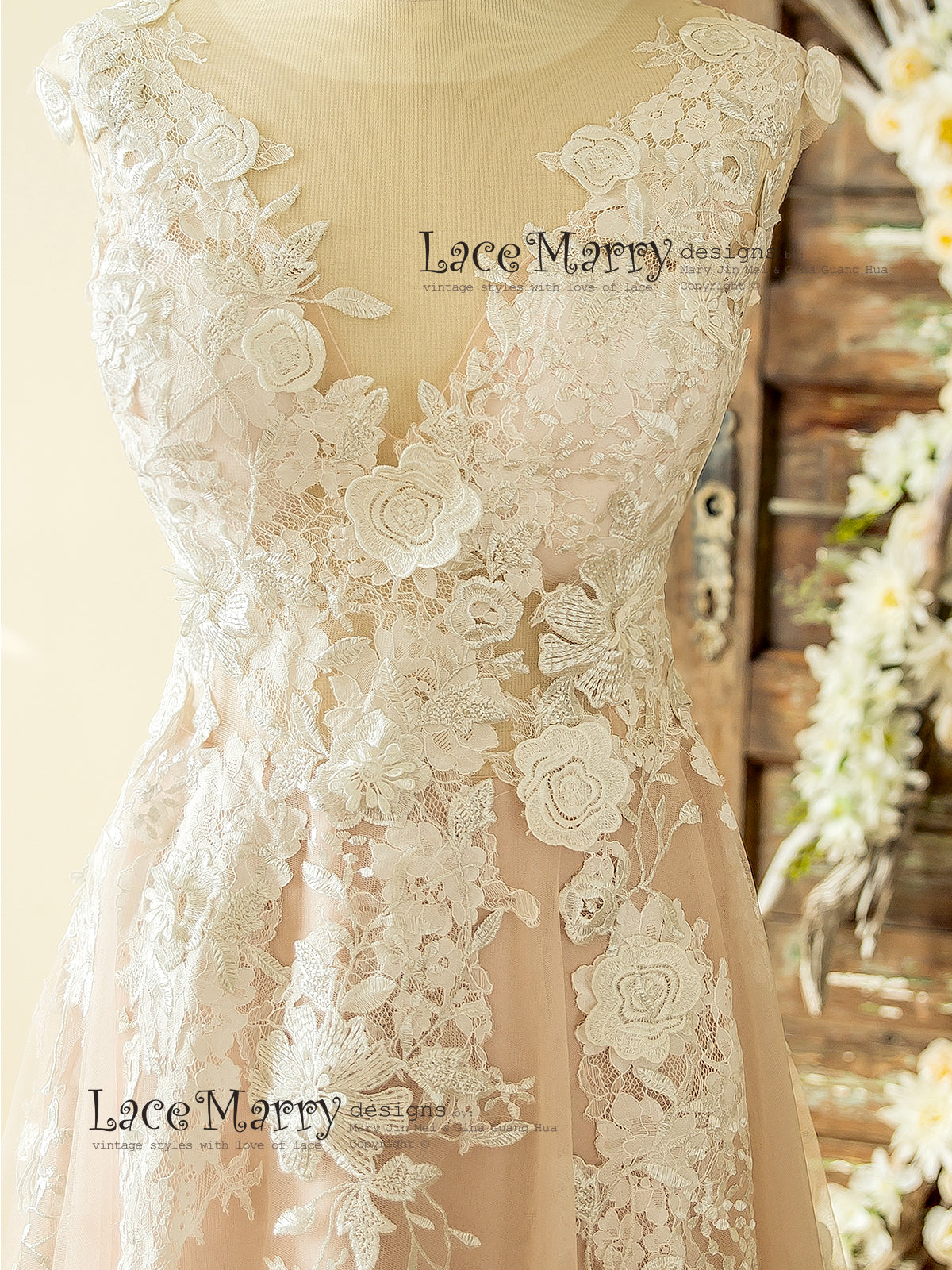 A Line Silhouette Rose Pink Lace Wedding Dress