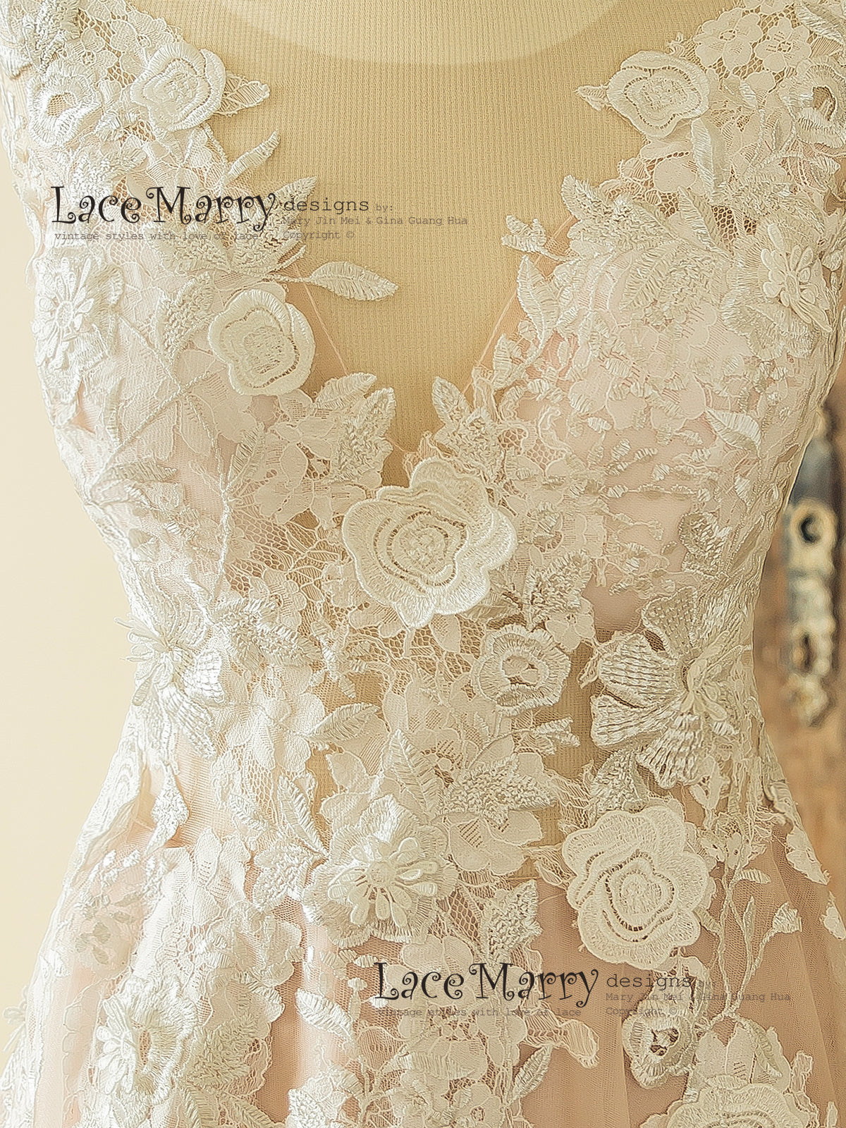 e7f9b388627 ... Pink Lace Wedding Dress  Wedding Dress with Ivory 3D Flower Appliques  ...