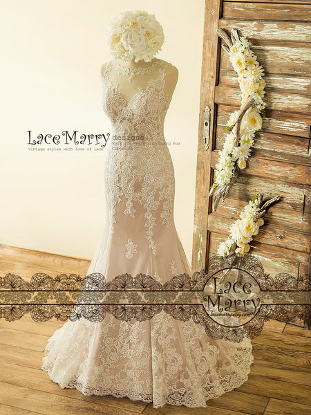 Beautiful Blush Lace Wedding Dress